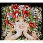 LPN-0156698 Vyšívací sada - Holčička s květinami
