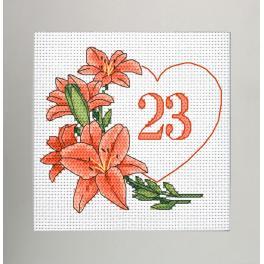 GU 10342 Vzor na vyšívání vytištěný - Narozeninová karta - Srdce s liliemi