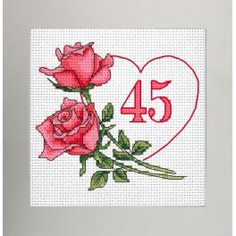 W 10341 Vzor na vyšívání v PDF - Narozeninová karta - Srdce s růžemi