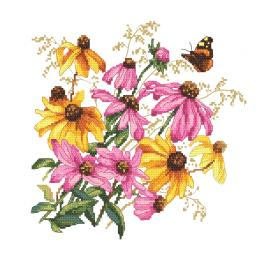 GC 10471 Vzor na vyšívání vytištěný - Barevné květiny