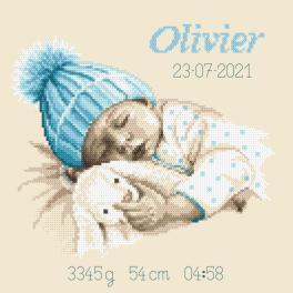 GC 10337 Vzor na vyšívání vytištěný - Vzpomínka na narození - Sladký sen chlapečka