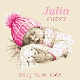 GC 10338 Vzor na vyšívání vytištěný - Vzpomínka na narození - Sladký sen holčičky