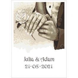 ZN 10340 Vyšívací sada s potiskem - Vzpomínka na svatbu - Ruce
