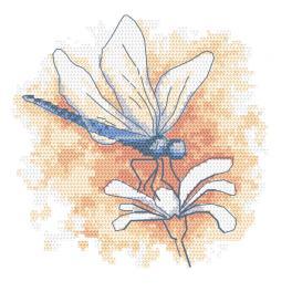 GC 10466 Vzor na vyšívání vytištěný - Pastelová vážka