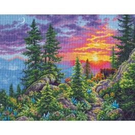 DIM 70-35383 Vyšívací sada - Západ slunce na horách
