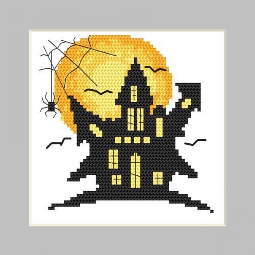 GU 10474 Vzor na vyšívání vytištěný - Přání - Strašidelný dům
