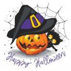 W 10475 Vzor na vyšívání v PDF - Polštářek - Veselý Halloween